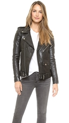 Blk Dnm Motorcycle Jacket With Quilted Stripes Black