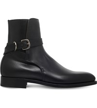 Ralph Lauren Purple Label Jamison Leather Ankle Boots Black