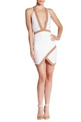Missguided Contrast Halter Bodycon Dress Brown