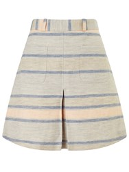 Bzr Chelsea Stripe Skirt Blue Grey