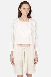 Opening Ceremony U Neck Poplin Long Sleeve Top White