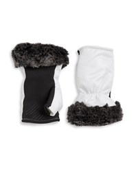 Ur Powered Faux Fur Accented Tech Gloves White