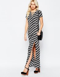 Daisy Street Maxi Dress With Side Split And Lace Up Neckline In Mono Print Blackwhite
