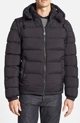 Men's Burberry Brit 'Basford' 2 In 1 Trim Fit Waterproof Down Insulated Puffer Jacket With Removable Sleeves Black