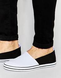 Asos Slip On Plimsolls In White Canvas White