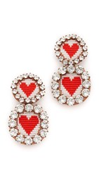 Shourouk Heart Xl Clip On Earrings Red White