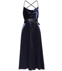 Valentino Velvet Midi Dress With Leather Belt Blue