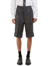 Thom Browne Oversized Distressed Piped Check Shorts Grey