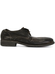Guidi Distressed Lace Up Shoes Black