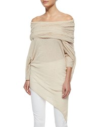 Donna Karan Off The Shoulder Asymmetric Ruched Tunic Women's Parchment