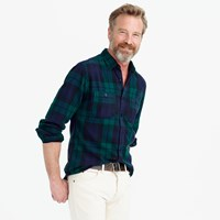 J.Crew Tall Midweight Flannel Shirt In Black Watch