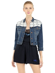 Superdry Cotton Denim Jacket With Lace Inserts Blue