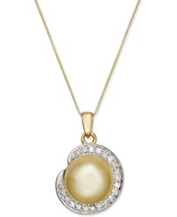 Macy's Cultured Golden South Sea Pearl 11Mm And Diamond 1 4 Ct. T.W. Pendant Necklace In 14K Gold Yellow