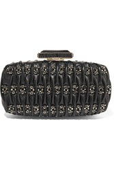 Oscar De La Renta Goa Embellished Matelasse Leather Clutch Black