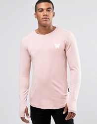 Good For Nothing Long Sleeve T Shirt With Small Logo Pink