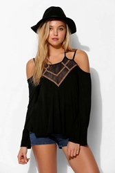 Staring At Stars Embroidered Lace Up Top Black