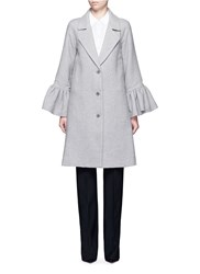 Flared Cuff Wool Silk Blend Coat Grey