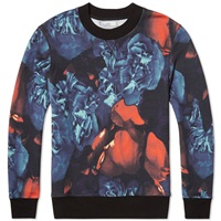 Ami Alexandre Mattiussi Ami All Over Print Floral Crew Sweat Blue And Red