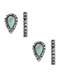 Lucky Brand Pave Peacock Semi Precious Reconstitution Calcite Set Earrings Set Turquoise