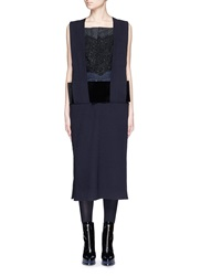 Toga Archives Guipure Lace Velvet Waistband Wool Blend Dress Blue