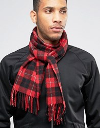 Fred Perry Tartan Scarf In Cashmere Mix Red