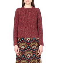 Valentino Chunky Knit Cotton And Wool Blend Jumper Red