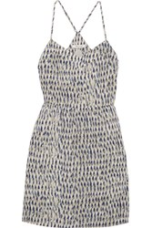 Madewell Printed Silk Mini Dress Gray