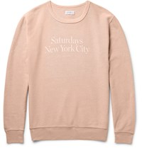 Saturdays Surf Nyc Bowery Printed Garment Dyed Cotton Twill Sweatshirt Orange