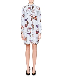 Msgm Long Sleeve Paisley Print Shirtdress W Fringe