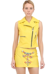 Stefano De Lellis Embellished Leather Biker Vest Yellow