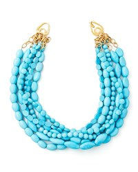 Multi Strand Turquoise Magnesite Necklace Moon And Lola