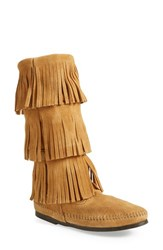 Women's Minnetonka 3 Layer Fringe Boot Taupe Suede