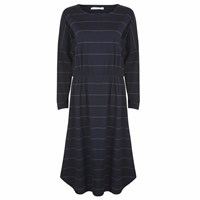 Beaumont Organic Sarah Cotton Dress In Navy And Dark Grey Stripe Blue