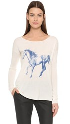 Tess Giberson Running Horse Long Sleeve Tee White Blue