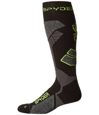 Spyder Zenith Sock Black Polar Bryte Yellow Men's Knee High Socks Shoes Multi
