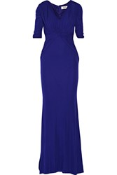 Badgley Mischka Pleated Stretch Jersey Gown Blue