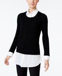 Charter Club Cashmere Layered Look Sweater Only At Macy's Classic Black