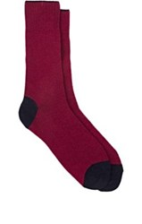 Barneys New York Men's Tipped Cuff Stockinette Stitched Mid Calf Socks Red Navy Red Navy