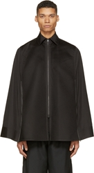 Facetasm Black Pleated Dress Shirt Poncho