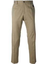 Dolce And Gabbana Embroidered Crown Tailored Trousers Nude And Neutrals