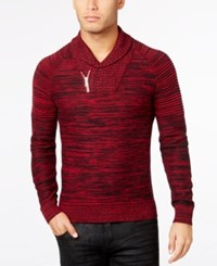 Inc International Concepts Men's Nickelby Marled Shawl Collar Sweater Only At Macy's Bright Rhubarb