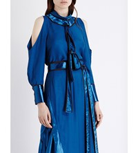 Peter Pilotto Cold Shoulder Crepe Blouse Peacock