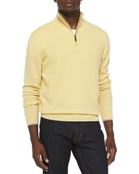 Neiman Marcus Cashmere Cloud Quarter Zip Sweater Yellow