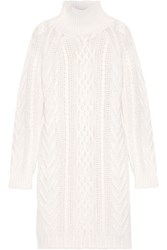 Max Mara Granada Cable Knit Wool And Cashmere Blend Sweater Dress Off White