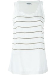 Brunello Cucinelli Embellished Stripe Tank Top White