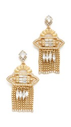 Elizabeth Cole Velma Earrings Golden Crystal