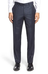Men's Big And Tall Nordstrom Flat Front Houndstooth Wool Trousers Navy