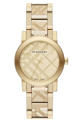 Burberry Check Stamped Bracelet Watch 26Mm Gold