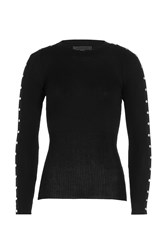 Alexander Wang Cotton Ribbed Longsleeve Top With Studs Black