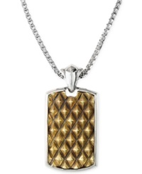 Effy Collection Effy Men's Spike Dog Tag Necklace In Brass And Sterling Silver